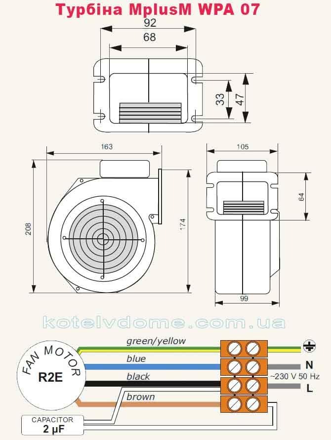 вентилятор MplusM WPA 07 - розміри